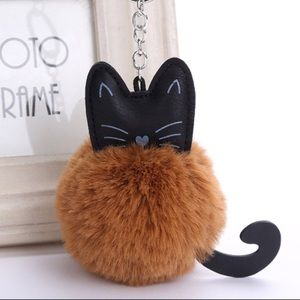 Faux rabbit fur Kitty cat keychain bag charm
